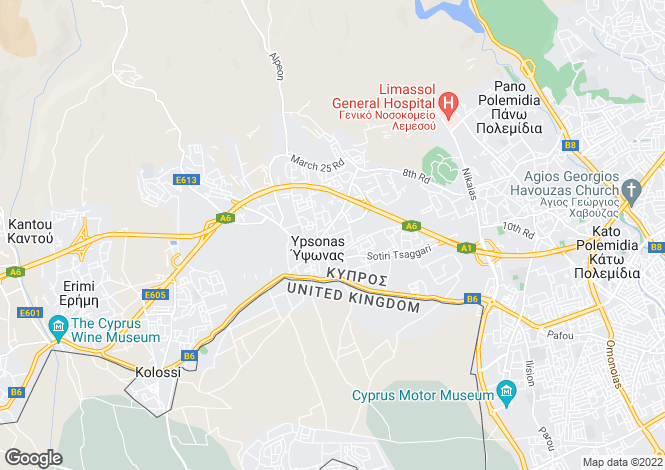 Map for Ypsonas, Limassol