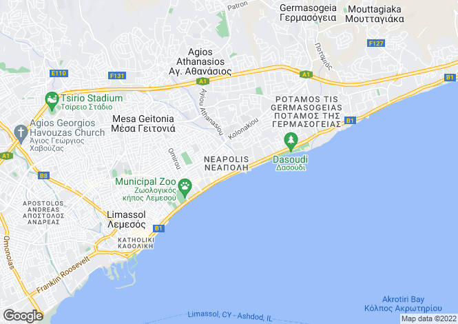 Map for Limassol, Neapolis
