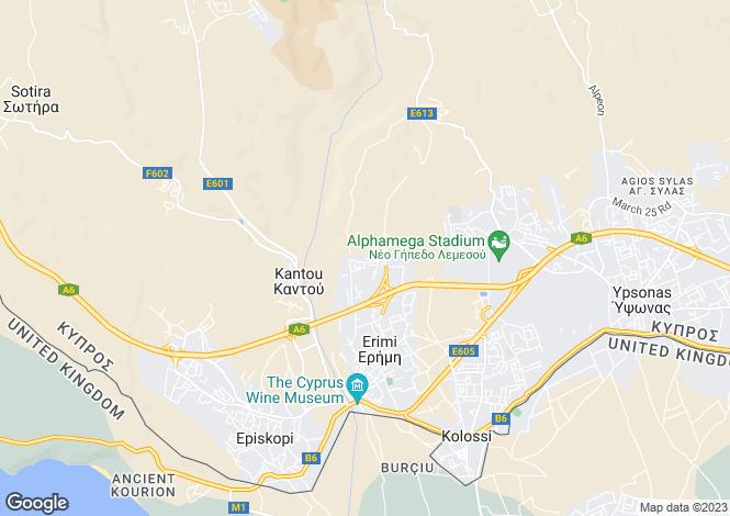 Map for Erimi, Limassol, Cyprus
