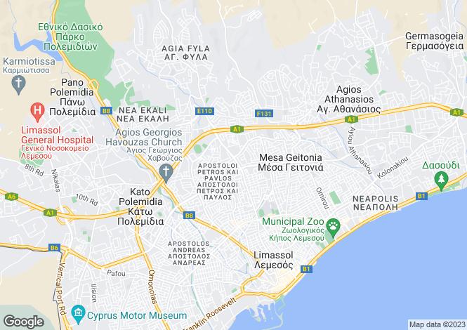 Map for Cyprus - Limassol, Kapsalos