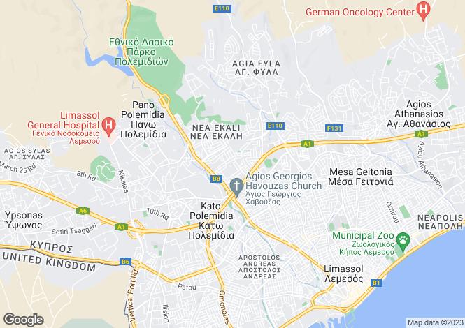 Map for Cyprus - Limassol, Ekali
