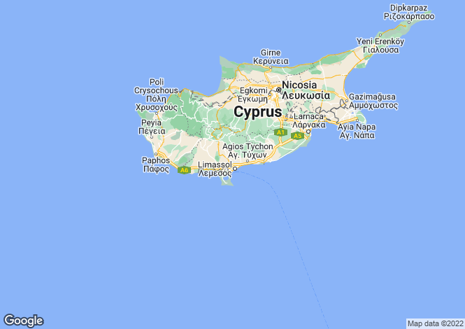 Map for Cyprus - Limassol, Germasoyia