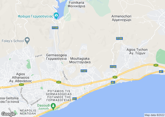 Map for Limassol, Mouttagiaka