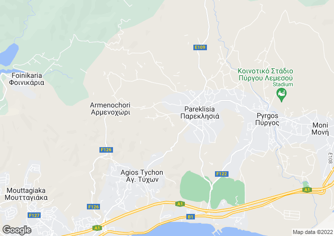 Map for Limassol, Parekklisia