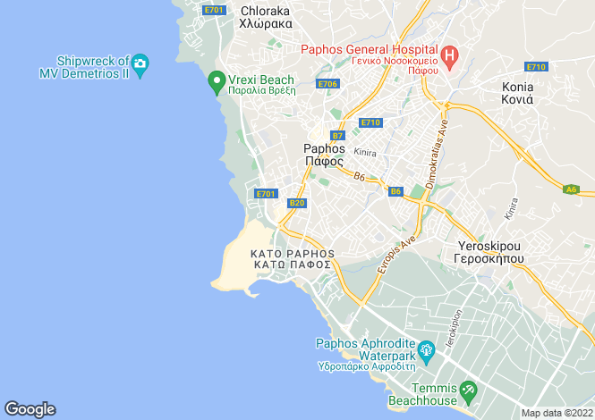 Map for Universal, Kato Paphos, Paphos, Cyprus
