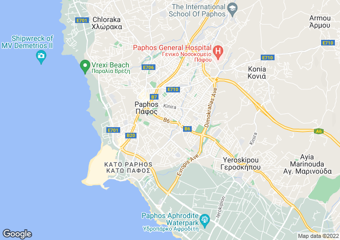 Map for Paphos, Anarita