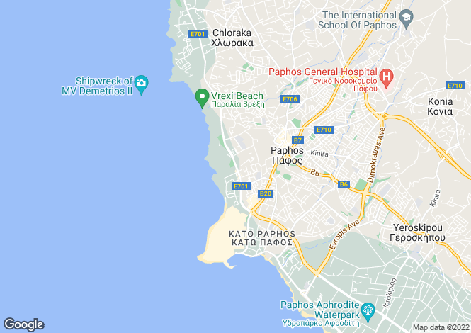 Map for Paphos, Tombs Of The Kings