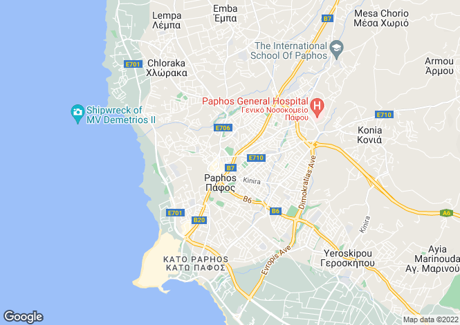 Map for Paphos, Paphos