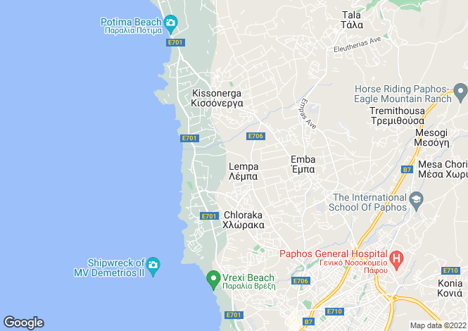 Map for Paphos, Mouttalos