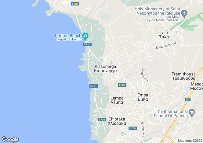 Map for Paphos, Kissonerga