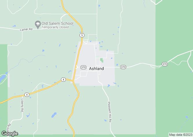 Map for USA - Mississippi, Benton County, Ashland