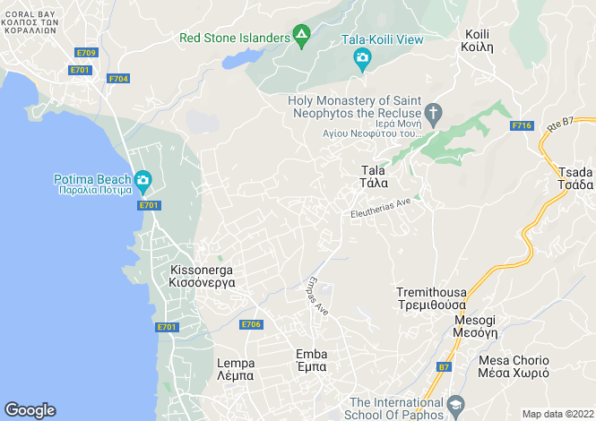 Map for Paphos, Tala