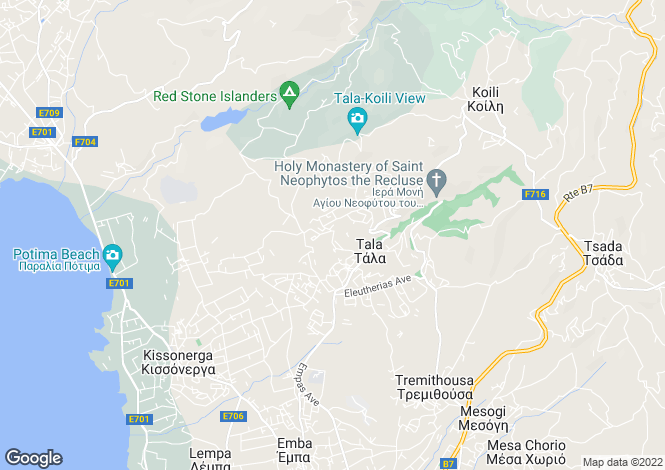 Map for Tala, Paphos, Cyprus