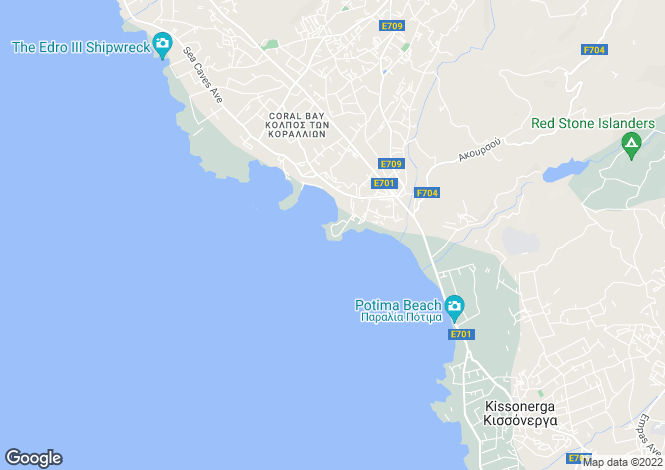 Map for Paphos, Coral Bay