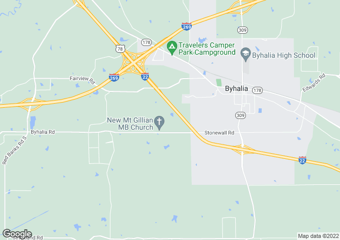 Map for Mississippi, Marshall County, Byhalia