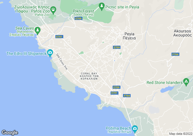 Map for Peyia, Paphos, Cyprus
