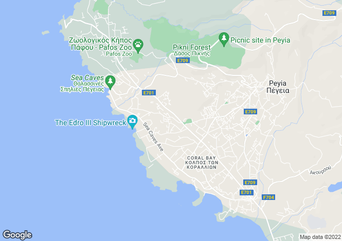 Map for Sea Caves Area - Paphos - Cyprus