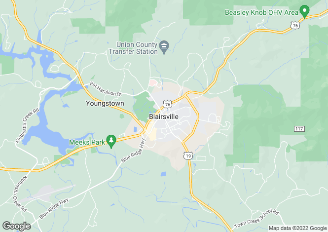 Map for USA - Georgia, Union County, Blairsville