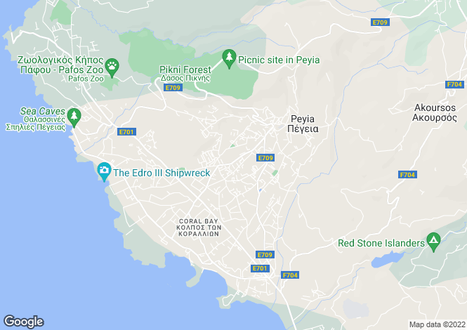 Map for Peyia - Paphos - Cyprus