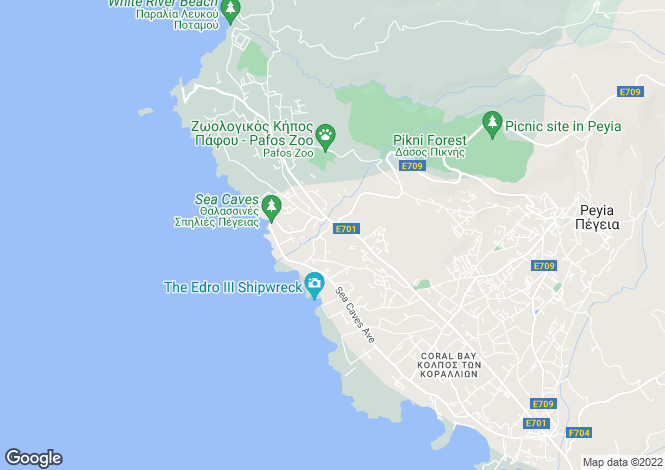 Map for Paphos, Sea Caves