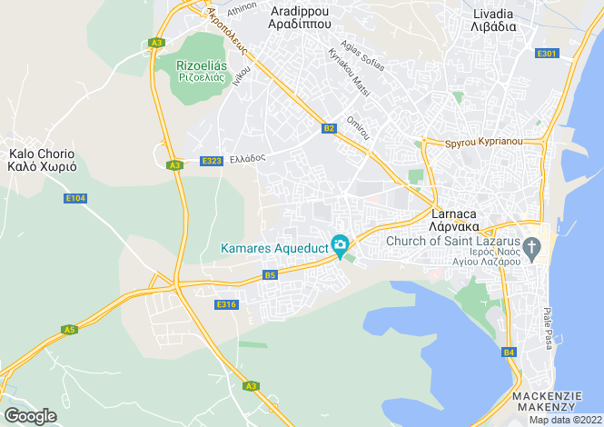 Map for Cyprus - Larnaca