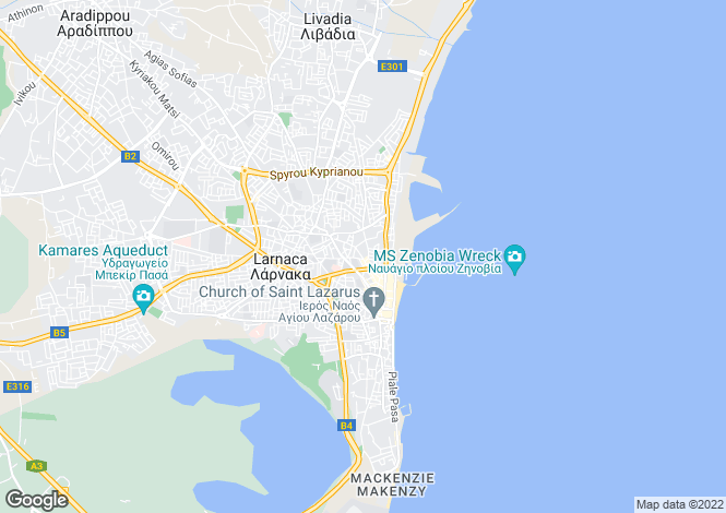 Map for Central Larnaca, Larnaca, Cyprus