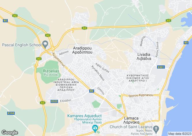 Map for Larnaca, Aradipou