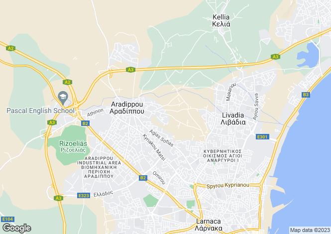 Map for Aradippou, Larnaca