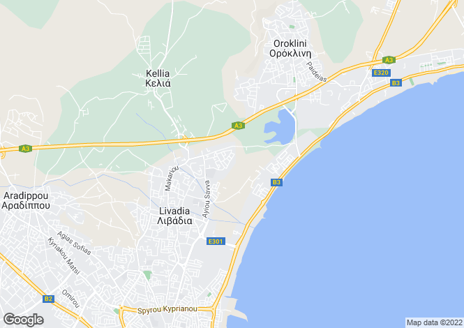 Map for Cyprus - Larnaca, Leivadia
