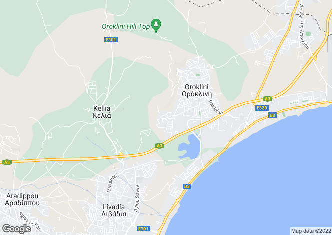 Map for Cyprus - Larnaca, Oroklini
