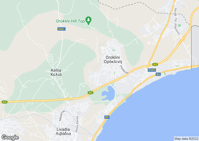 Map for Larnaca, Oroklini
