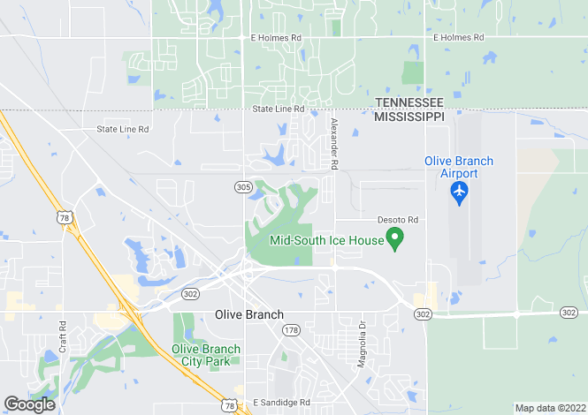 Map for Mississippi, DeSoto County, Olive Branch