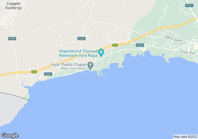 Map for Cyprus., Agia Napa, Famagusta, Cyprus