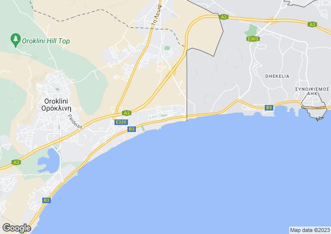 Map for Dhekelia, Larnaca, Cyprus