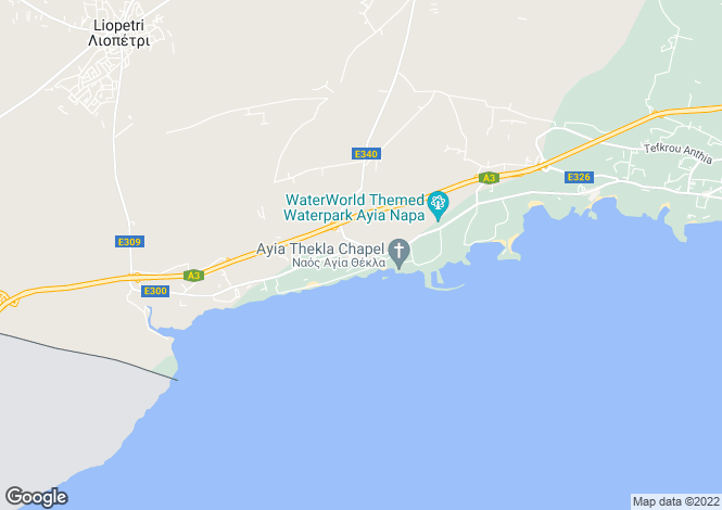 Map for Ayia Thekla, Famagusta