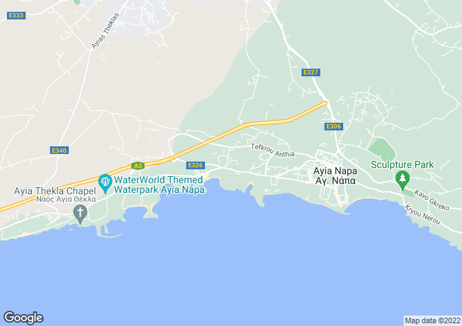 Map for Ayia Napa, Famagusta