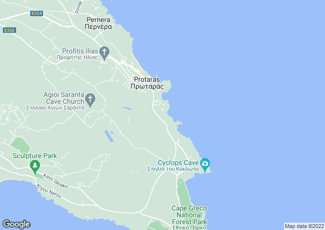 Map for Green Bay, Protaras, Cyprus