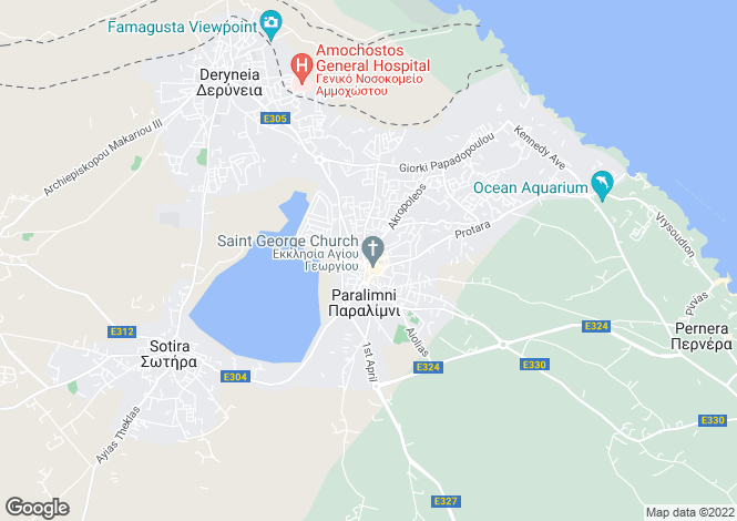 Map for ParalImnI, Famagusta, Cyprus
