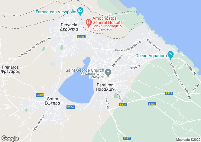 Map for Paralimni, Famagusta