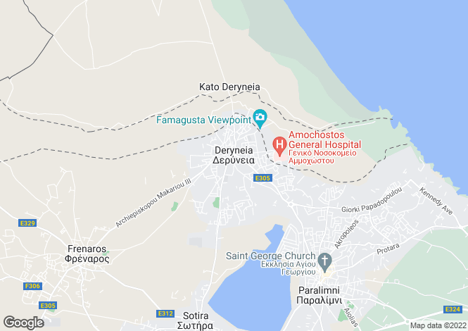 Map for Deryneia, Famagusta, Cyprus