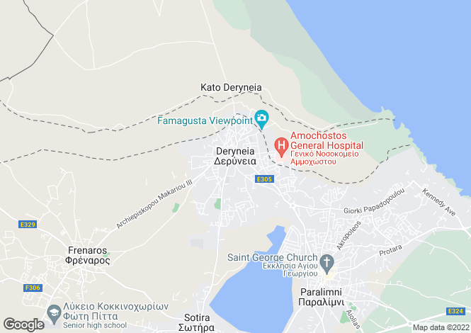 Map for Deryneia, Famagusta