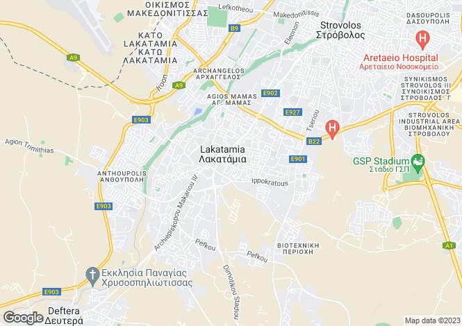 Map for Nicosia, Lakatameia