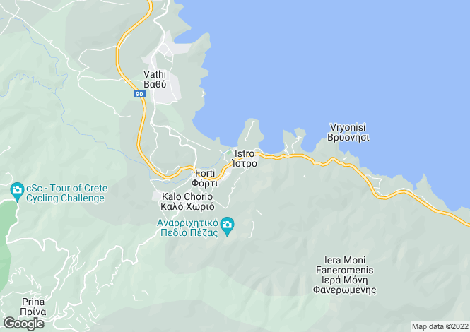Map for Istron, Lasithi, Crete