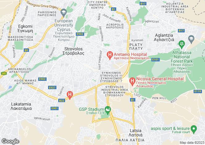 Map for Nicosia, Strovolos