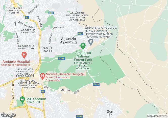 Map for Nicosia, Aglantzia