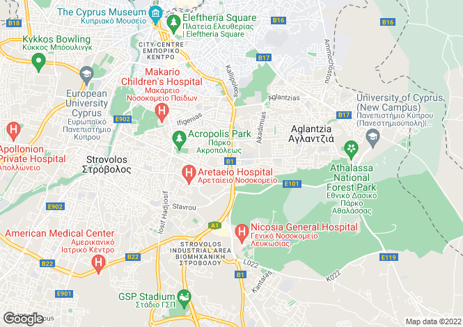 Map for Nicosia Centre, Nicosia, Nicosia