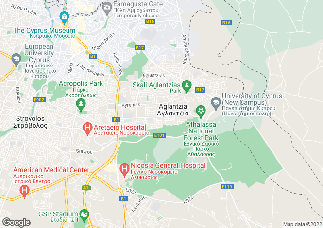 Map for Aglantzia