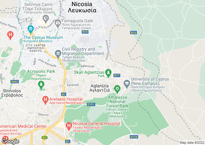 Map for Nicosia, Aglangia