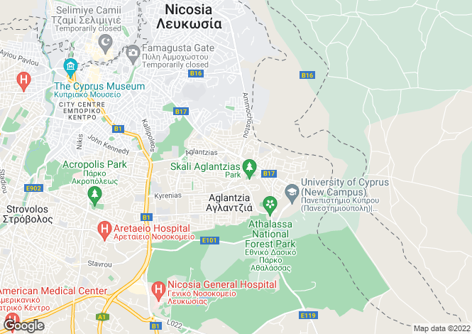 Map for Aglangia, Nicosia