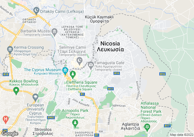 Map for Nicosia, Lefkosia